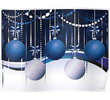 Blue and White Xmas Balls Poster