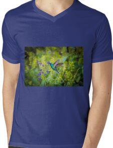 My Secret Garden, Green Violet Eared Hummingbird Mens V-Neck T-Shirt