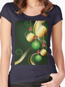 Gold and Green Xmas Balls Women's Fitted Scoop T-Shirt