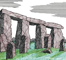 80 - STONEHENGE - DAVE EDWARDS - INK & COLOURED PENCIL - 1998 by BLYTHART