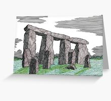 80 - STONEHENGE - DAVE EDWARDS - INK & COLOURED PENCIL - 1998 Greeting Card