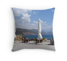 Sit down and enjoy. Throw Pillow