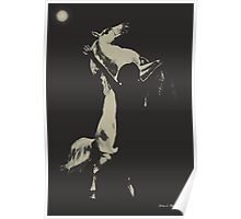 Frightened Horse Black and White Poster