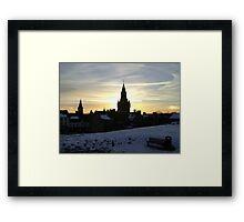 Sundogs, sunset behind City Chambers, Dunfermline Framed Print