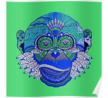 MONKEY COLLECTION BLUE GREEN INDIE FEATHER Poster