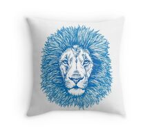 blue line lion Throw Pillow