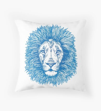 blue line lion Throw Pillow