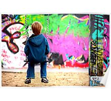 Berlin kid and the wall Poster