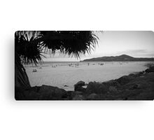 Byron bay beach bw Canvas Print