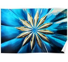 Blue Glass Flower Poster