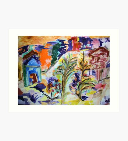 Tropical Abstract (mixed media on canvas) Art Print