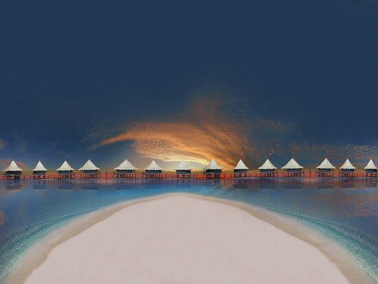 Sunset at tahiti by Digital Editor .