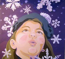 First Snowflakes or Girl Seeing Snow the First Time by AISI