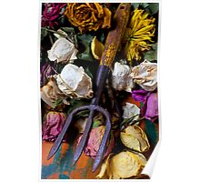 Garden tool and dried flowers Poster