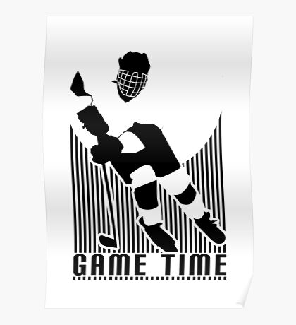 Game Time - Hockey (White) Poster