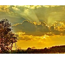 Sun behind a cloud before sunset Photographic Print