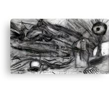 Flying Hand Creatures Fighting Giant Eye In The Sky Canvas Print
