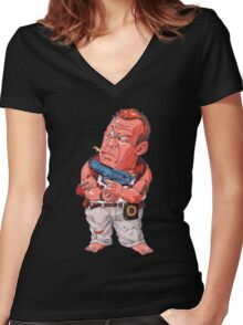 John McClane (Bruce Willis) - Akira Toriyama style Women's Fitted V-Neck T-Shirt
