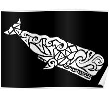 Sperm Whale Tribal Design - White Poster