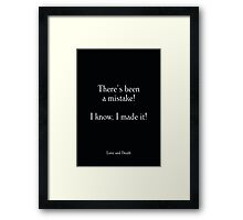Love and Death - Woody Allen's Greatest Lines Framed Print