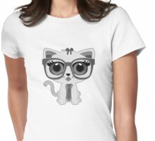 Kitten Nerd - Grey Womens Fitted T-Shirt