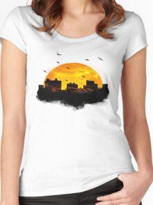 Cool Sunset - City Skyline - Cute Birds Women's Fitted Scoop T-Shirt