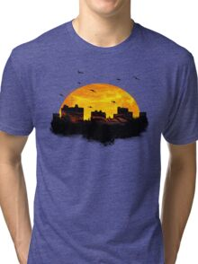 Cool Sunset - City Skyline - Cute Birds Tri-blend T-Shirt