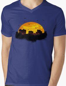 Cool Sunset - City Skyline - Cute Birds Mens V-Neck T-Shirt