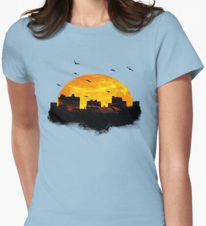 Cool Sunset - City Skyline - Cute Birds Womens Fitted T-Shirt