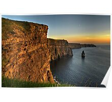 Scenic Irish Sunset Nature Landscape Rural Countryside Photography. The Cliffs of Moher Mohair Seascape, County Clare, Ireland Irlanda. Poster
