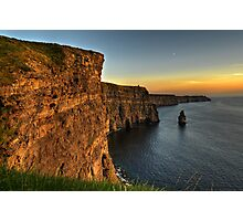 Scenic Irish Sunset Nature Landscape Rural Countryside Photography. The Cliffs of Moher Mohair Seascape, County Clare, Ireland Irlanda. Photographic Print
