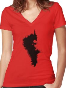 Transitory - Canvas Texture - Abstract Face Women's Fitted V-Neck T-Shirt