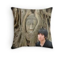 Young man and buddah  at Wat Mahathat, Thailand Throw Pillow