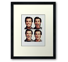 Jim Carrey faces in color Framed Print