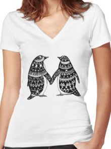 Penguin Couple Women's Fitted V-Neck T-Shirt