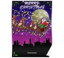 Here comes Santa Claus - Newcastle skyline Poster