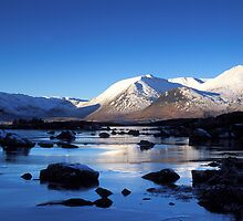 First Light on Black Mount across Lochan na h-Achlaise, Rannoch Moor by Keith Gooderham