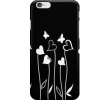 Hearts and Butterflies on Black iPhone Case/Skin