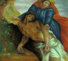 Pieta, after Delacroix by Pam Humbargar