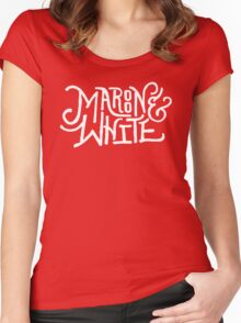 Maroon & White - White Script Women's Fitted Scoop T-Shirt