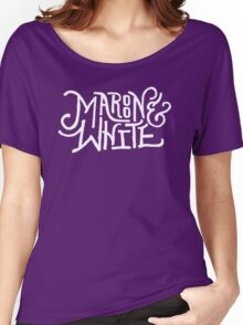 Maroon & White - White Script Women's Relaxed Fit T-Shirt