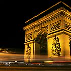 Arc de Triomphe at Night by Mark Tomlinson