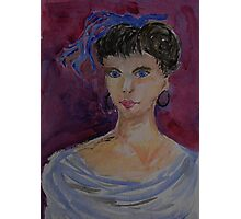 Lady with a blue hairbow Photographic Print