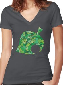 Animal Crossing New Leaf  Women's Fitted V-Neck T-Shirt