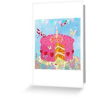 Birthday Cake, Garden Party festive whimsical art Greeting Card