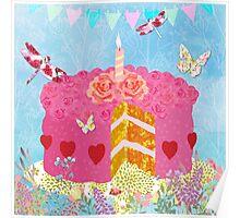 Birthday Cake, Garden Party festive whimsical art Poster