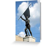 Statue of Serbien Soldier from First World War Greeting Card
