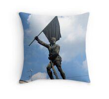 Statue of Serbien Soldier from First World War Throw Pillow