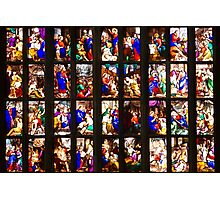 Colourful stained-glass windows in Milan Cathedral, ITALY Photographic Print