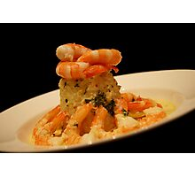 A Plate of Garlic Prawns Photographic Print